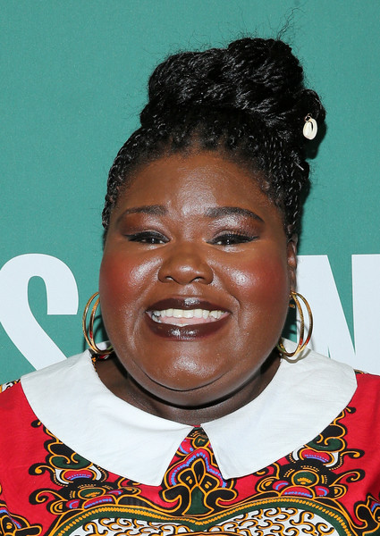 More Pics of Gabourey Sidibe Braided Updo (1 of 7) - Gabourey Sidibe Lookbook - StyleBistro [book,this is just my face: try not to stare,photo,hair,forehead,hairstyle,smile,black hair,copies,gabourey sidibe,gabourey sidibe signs,copy,barnes noble union square,new york city,appearance]