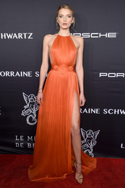 Strappy gold sandals by Giuseppe Zanotti were the perfect finishing touch to Lily Donaldson's gorgeous dress!