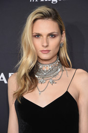 Andreja Pejic finished off her look with a silver statement necklace.