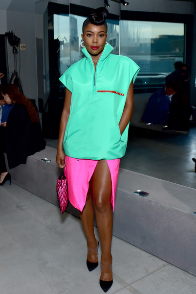 Gabrielle Union Knee Length Skirt [fashion,clothing,fashion model,fashion show,pink,leg,shoulder,turquoise,thigh,fashion design,arrivals,gabrielle union-wade,front row,new york city,prada resort 2019 fashion show,fashion show]