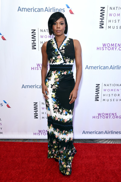 Gabrielle Union Print Dress [red carpet,clothing,carpet,dress,fashion,fashion model,premiere,flooring,fashion design,cocktail dress,beverly hills,california,the beverly hilton hotel,national womens history museums 7th annual women making history awards,gabrielle union]