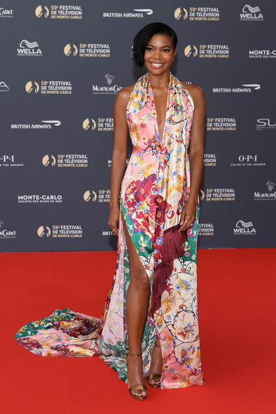 Gabrielle Union Evening Sandals [red carpet,fashion model,clothing,carpet,fashion,shoulder,hairstyle,thigh,flooring,dress,monte-carlo,monaco,monte carlo tv festival,opening ceremony,opening ceremony,gabrielle union]