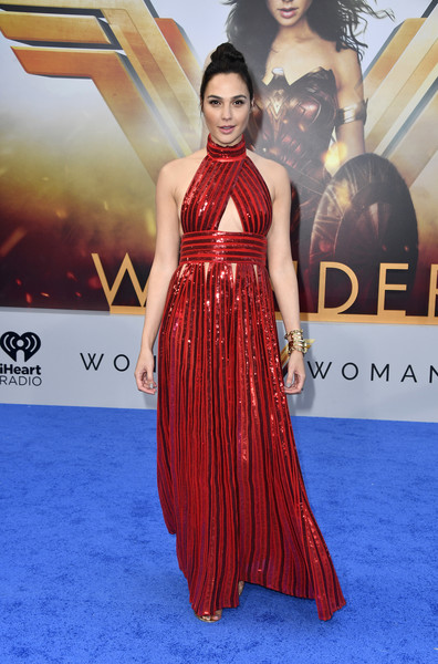 Gal Gadot Cutout Dress [premiere of warner bros. pictures,flooring,fashion model,gown,carpet,dress,shoulder,fashion,joint,cocktail dress,red carpet,wonder woman,gal gadot,arrivals,california,hollywood,pantages theatre,warner bros. pictures,premiere]