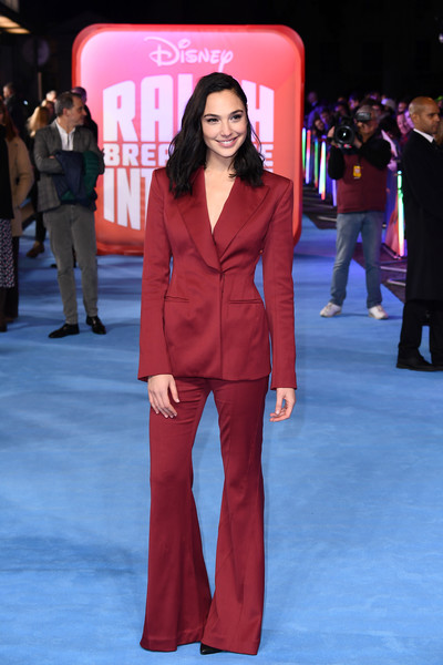 Gal Gadot Pantsuit [ralph breaks the internet,red,fashion model,flooring,fashion,carpet,suit,formal wear,red carpet,girl,fashion show,gal gadot,european,england,london,red carpet arrivals,premiere,european premiere,the curzon mayfair]