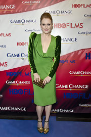 Julianne Moore wore this green velvet-clad cocktail dress to the 'Game Change' premiere.