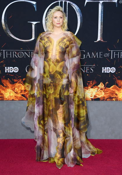 More Pics of Gwendoline Christie Pointy Flats (5 of 12) - Flats Lookbook - StyleBistro [game of thrones,season,clothing,red carpet,carpet,flooring,premiere,yellow,hairstyle,fashion,dress,costume design,gwendoline christie,new york city,premiere]