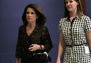Michele Bachmann toted a petite black leather frame bag to briefing on U.S. military action in Libya.