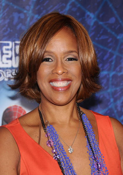 Gayle King Bob [spider-man,turn off the dark,hair,face,hairstyle,chin,blond,hair coloring,layered hair,brown hair,smile,premiere,gayle king,broadway,new york city,foxwoods theatre,broadway opening night]