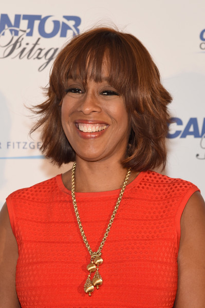 Gayle King Layered Razor Cut [hair,hairstyle,shoulder,layered hair,electric blue,bob cut,brown hair,bangs,hair coloring,premiere,office - arrivals,gayle king,new york city,cantor fitzgerald,bgc,gfi,charity day,annual charity day]