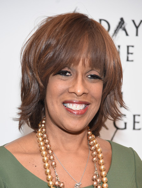 Gayle King Layered Razor Cut [sunday in the park with george,sunday in the park with george,hair,face,hairstyle,chin,eyebrow,bangs,brown hair,blond,layered hair,forehead,gayle king,curtain call,the hudson theatre,new york city,broadway,broad way opening night - arrivals]