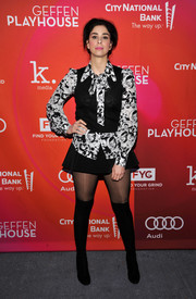 Sarah Silverman rounded out her look with black over-the-knee boots.