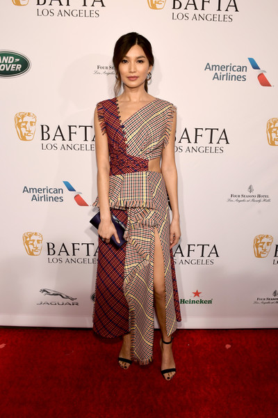 Gemma Chan Strappy Sandals [red carpet,clothing,carpet,shoulder,fashion model,dress,fashion,hairstyle,flooring,premiere,arrivals,gemma chan,los angeles,four seasons hotel,california,beverly hills,bafta,tea party]
