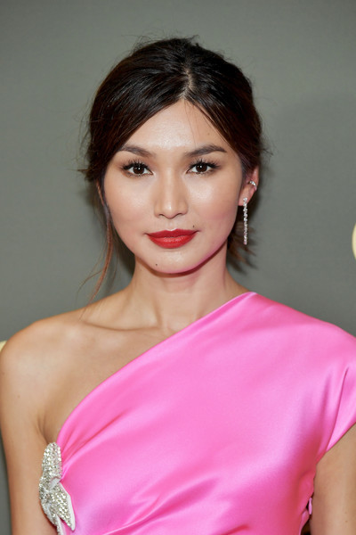 Gemma Chan Messy Updo [amazon prime video,hair,face,pink,shoulder,lip,hairstyle,beauty,clothing,skin,lady,gemma chan,golden globe awards,beverly hills,california,the beverly hilton hotel,arrivals,party]