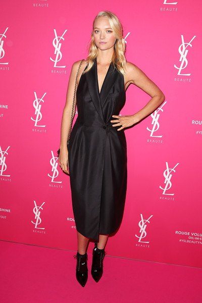 Gemma Ward Tuxedo Dress [gemma ward,clothing,dress,cocktail dress,pink,carpet,fashion model,premiere,red carpet,footwear,fashion,ysl beauty launch,ysl beauty launch,sydney town hall,australia]