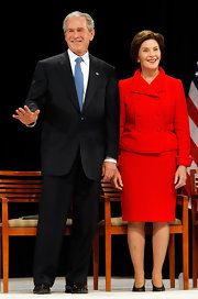 Laura Bush was every bit the classy lady in a bright red skirt suit.