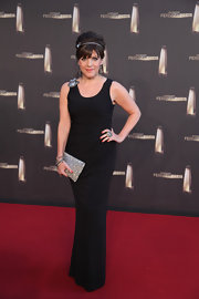 Birgit Schrowange looked simply divine in her sleeveless black evening dress.
