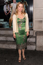 Kerry Butler layered a sweet embroidered cardigan over her intricate silk dress.