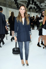 Miroslava Duma smartened a pair of jeans with a sleek blue blazer for the Giambattista Valli Couture show.