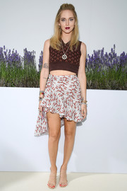 Chiara Ferragni rounded out her ensemble with strappy beige heels.