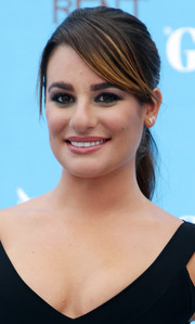 Lea Michele opted for a simple yet chic ponytail with side-swept bangs when she attended the Giffoni Film Festival.