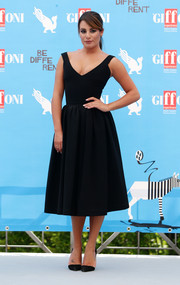 Lea Michele went for '50s elegance in a Preen fit-and-flare LBD during the Giffoni Film Festival.