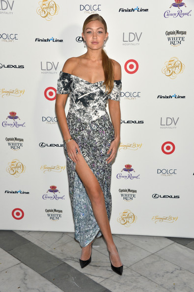 Gigi Hadid Off-the-Shoulder Dress [sports illustrated,clothing,fashion model,shoulder,dress,red carpet,cocktail dress,fashion,hairstyle,joint,footwear,gigi hadidi,the gale hotel,miami,florida,swimsuit south beach soiree]
