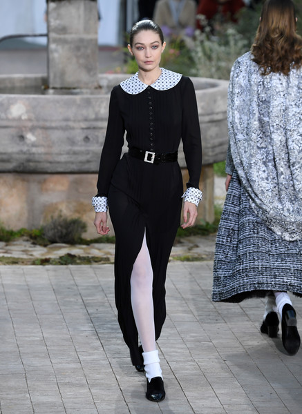 Gigi Hadid Suede Loafers [clothing,street fashion,fashion,tights,outerwear,leggings,footwear,formal wear,suit,dress,gigi hadid,part,runway,summer 2020,paris,chanel,chanel haute couture spring,paris fashion week,haute couture spring,show,gigi hadid,paris fashion week,chanel,new york fashion week,haute couture,fashion week,fashion,runway,model]