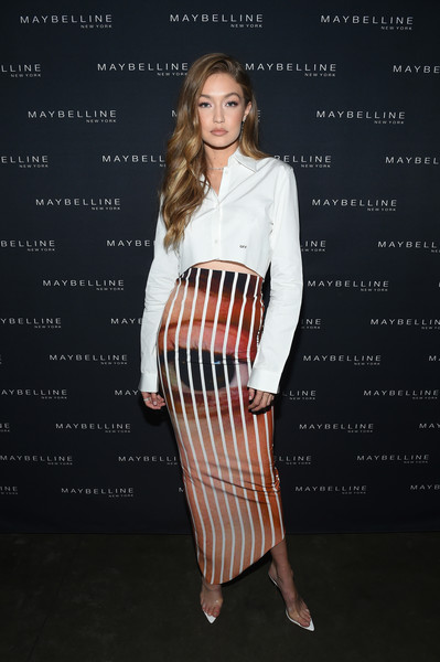 Gigi Hadid Slide Sandals Are The Summer Footwear Trend We Can't Get Enough Of [clothing,white,fashion,dress,fashion model,shoulder,pencil skirt,waist,cocktail dress,footwear,mr.,gigi hadid,purple,new york city,hotel indigo les,maybelline,xix party,new york fashion week]