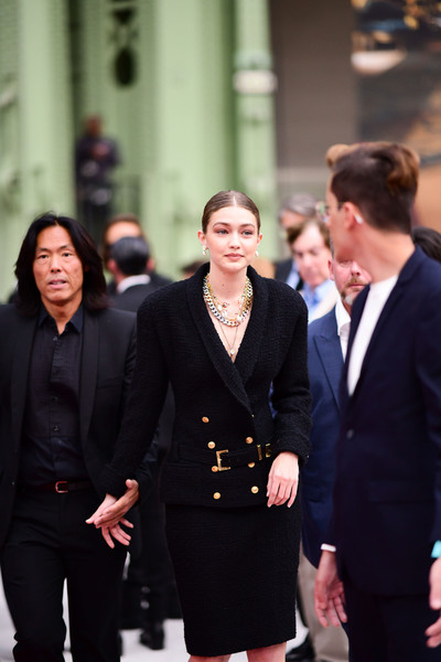 Gigi Hadid Skirt Suit [fashion,event,suit,white-collar worker,formal wear,little black dress,dress,outerwear,street fashion,businessperson,karl for ever,le grand palais,paris,france,karl for ever tribute,gigi hadid,karl lagerfeld]