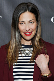 Stacy London attended the 5050 boot anniversary wearing her hair in sleek layers.