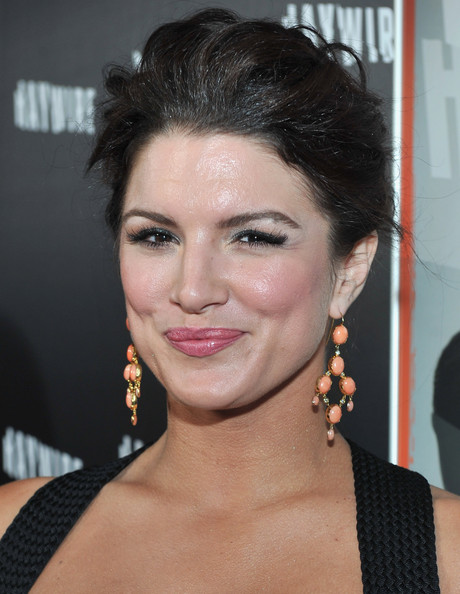 Gina Carano Dangling Gemstone Earrings [haywire,hair,face,hairstyle,eyebrow,chin,lip,beauty,forehead,black hair,brown hair,red carpet,gina carano,california,los angeles,dga theater,relativity media,premiere,premiere]