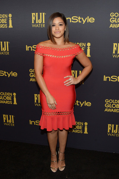 Gina Rodriguez Strappy Sandals [fashion model,flooring,shoulder,joint,carpet,leg,dress,cocktail dress,fashion,red carpet,gina rodriguez,golden globe award,catch la,west hollywood,california,hollywood foreign press association and instyle celebrate,instyle]