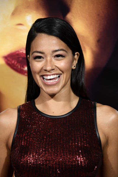 Gina Rodriguez Long Straight Cut [premiere of columbia pictures,miss bala,hair,eyebrow,hairstyle,beauty,smile,lip,black hair,tooth,premiere,dress,gina rodriguez,los angeles,california,regal la live stadium,premiere,columbia pictures miss bala - arrivals]