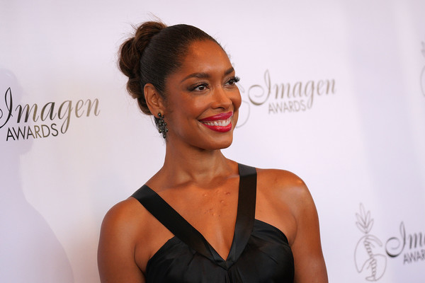 Gina Torres Twisted Bun [hair,hairstyle,beauty,skin,shoulder,bun,fashion,lip,model,dress,arrivals,gina torres,imagen awards,los angeles,jw marriott,california,l.a. live,annual imagen awards]