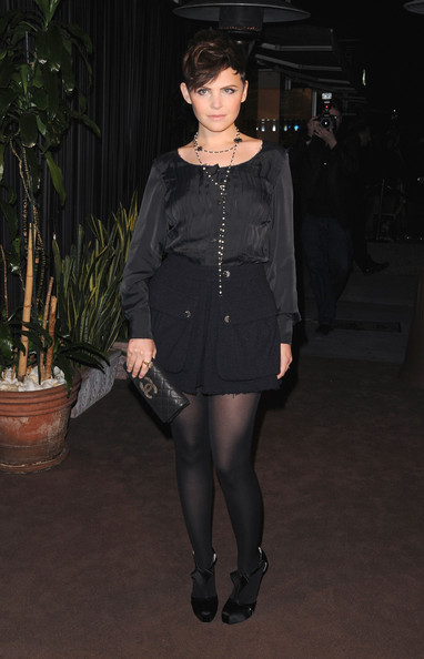Ginnifer Goodwin Leather Clutch [clothing,tights,black,fashion,stocking,leg,dress,pantyhose,little black dress,outerwear,ginnifer goodwin,california,los angeles,madeo restaurant,chanel,celebrating fashion film - arrivals,charles finch pre-oscar,dinner]