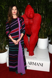 Kathryn Hahn looked vibrant in a striped maxi dress by Gabriela Hearst at the Giorgio Armani Beauty at Best Performances.