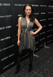 America Olivo wore a sprkling gray dress with a tie waist for the 'Albert Nobbs' premiere in NYC.