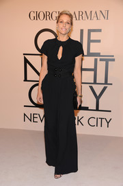 Jamie Tisch was classy in a black jumpsuit with a keyhole neckline during the Giorgio Armani SuperPier show.