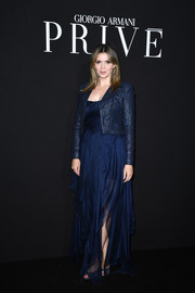 Carly Steel wowed in a flowy blue gown at the Armani Prive fashion show.