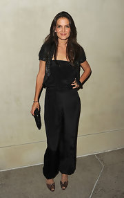 At the 'Vanity Fair' soiree, Katie Holmes paired her all-black ensemble with snake skin open-toe pumps.