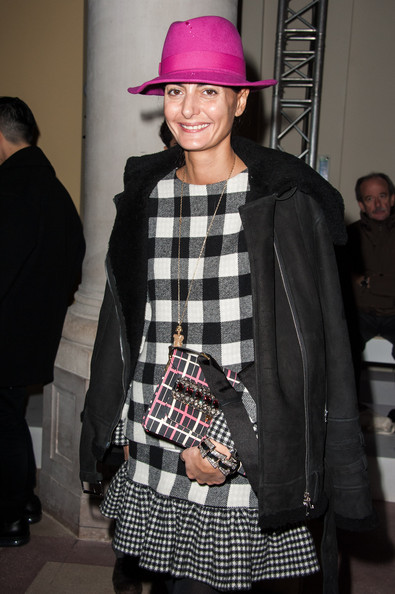 Giovanna Battaglia Fedora [show,clothing,tartan,plaid,pattern,fashion,textile,design,kilt,street fashion,hat,giovanna battaglia,carven,front row,part,paris,france,paris fashion week womenswear fall]