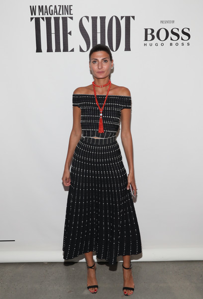 Giovanna Battaglia Off-the-Shoulder Top [the shot,clothing,fashion model,fashion,dress,fashion show,pattern,waist,fashion design,shoulder,runway,giovanna battaglia,new york city,international center of photography museum,w magazine,hugo boss,event]