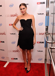 Allison Williams rocked a modern version of a little black dress with this tuxedo-bustier silk dress.
