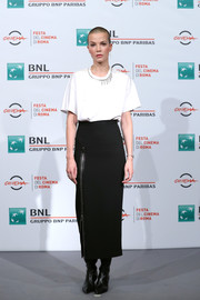 Sylvia Hoeks kept it relaxed in an oversized white tee with chain accents at the Rome Film Fest photocall for 'The Girl in the Spider's Web.'
