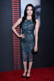 Laura Prepon went the classic route with this teal lace dress by Nha Khanh at the New York premiere of 'The Girl on the Train.'