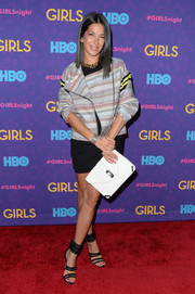 Rebecca Minkoff went for modern chic in a multicolored zip-up jacket during the 'Girls' season 3 premiere.