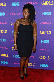 Danielle Brooks continued the black-gold theme with a pair of chic ankle-strap pumps.