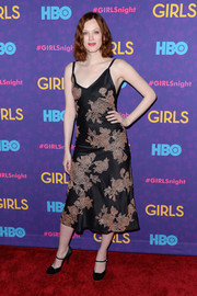 Karen Elson polished off her look with vintage-looking black Mary Janes.