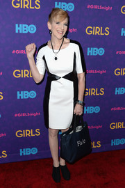 Lisa Lampanelli was modern and stylish in a monochrome leather-panel dress during the 'Girls' season 3 premiere.