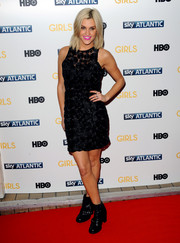 Ashley Roberts looked cute and chic in a textured polka-dot LBD during the London premiere of 'Girls' season 3.